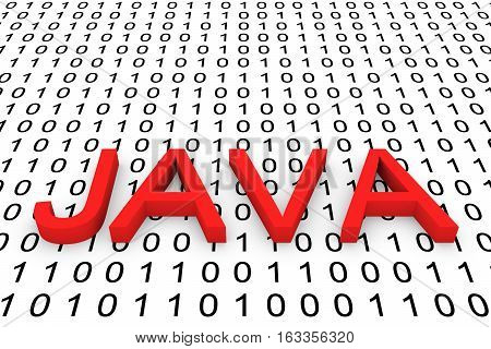 Java  in the form of binary code, 3D illustration