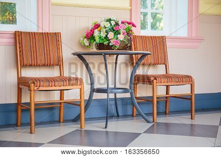 Beautiful colorful vintage reception or waiting room.