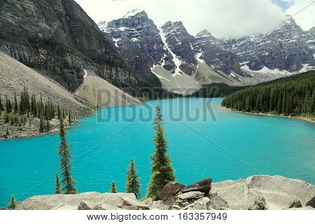 A view of Moraine Lake against the Canadian Rockies. Dec 2016