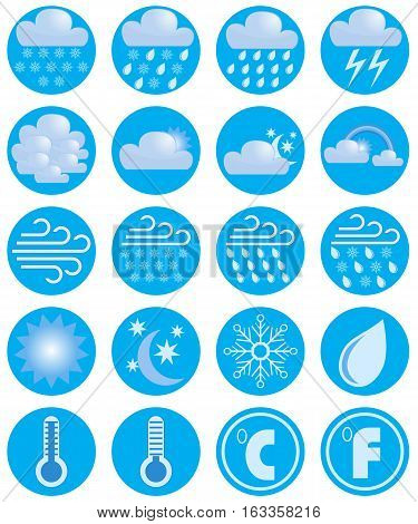 Set weather icons. Vector image. Meteorology simbols.