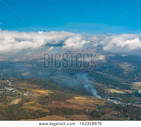 Autumnal landscape with aerial view on outskirts of Partenit resort in Crimean peninsula