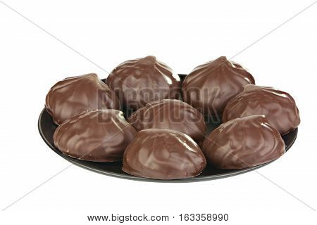 Delicious Chocolate Marshmallow On Plate On White