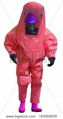 Protective Red Overalls Against The Biohazard On White Backgroun