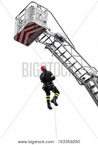 Climber  With Red Helmet Falls From The Ladder Truck Basket