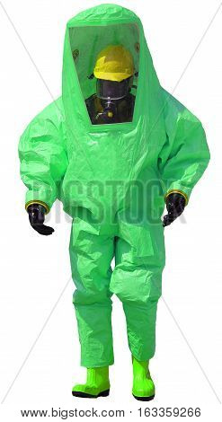 Person With Protective Suit With Breathing Apparatus Against Bio