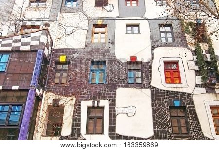 VIENNA, AUSTRIA - DECEMBER 30, 2007: Famous and bizarre apartment blocks by architect Friedrich Hundertwasser in Vienna