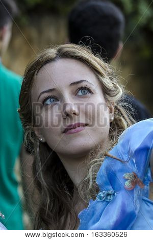 CAGLIARI, ITALY - May 29, 2016: Sunday at La Grande Jatte VIII Ed. At the Public Gardens - Sardinia - portrait of a beautiful woman in cosplay costume