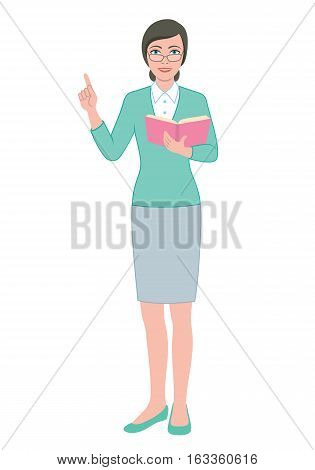 Color illustration of the teacher woman reading a book