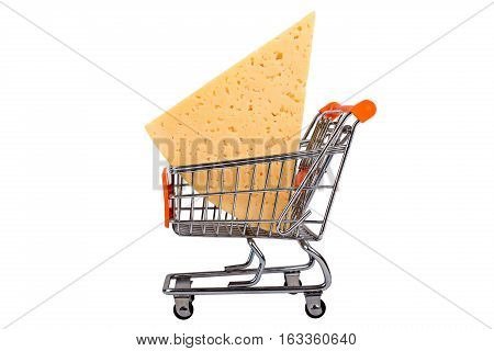 Cheese chunk in shopping cart isolated on white