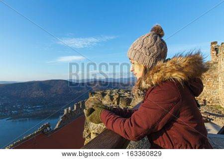 Picture of a tired tourist resting at Visegrad Castle Hungary