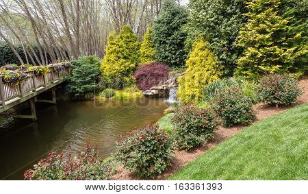 A Small Waterfall in Japanese Garden Pond
