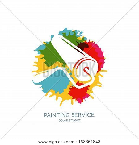 Vector Logo, Label, Icon Or Emblem Design Element. Paint Roller On Watercolor Paints Splash Backgrou