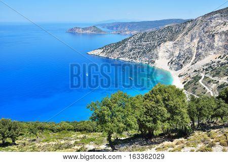 Bella vista dal alto sul isola di Cefalonia.