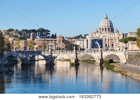 View Of Rome And Vatican City In Morning