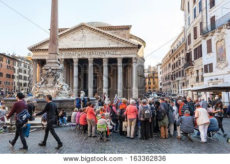People In Front Of Pantheon Edifice In Rome