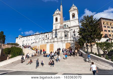 Spanish Steps And Trinita Dei Monti In Rome City