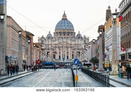Via Conciliazione And St Peter Basilica In Vatican