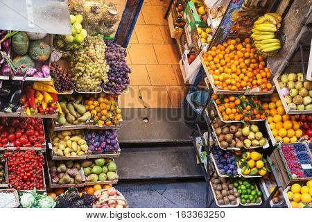 Above View Of Food In Greenery Shop