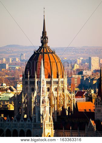 Detailed view of historical building of Hungarian Parliament, aka Orszaghaz, with typical central dome. Budapest, Hungary, Europe.