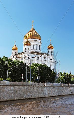 Cathedral of Christ the Saviour near Moskva river Moscow, Russia