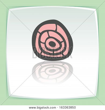 Vector outline pork, beef, mutton meat cutting food icon on white flat square plate. Elements for mobile concepts and web apps. Modern infographic logo and pictogram.