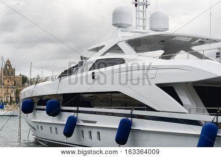 Super yacht moored at Manoel Island Malta