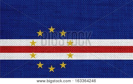Flag Of Cape Verde On Old Linen
