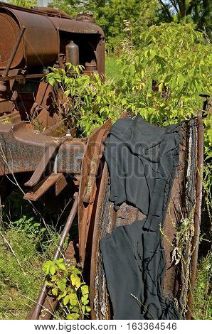 The tire and inner tube has decayed on an old rusty tractor in a junkyard.