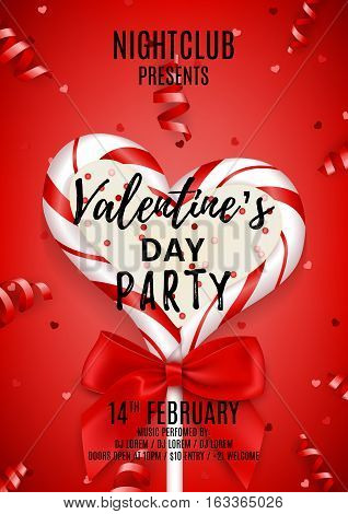 Red poster for Happy Valentine's Day party. Beautiful invitation with lollipop and red bow. Vector illustration with confetti and serpentine. Candy in the form of heart.
