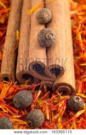 Cinnamone, Peppercorn And Saffron Close-up