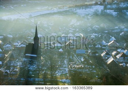 Color image of the wooden church in Ieud Maramures region Romania.