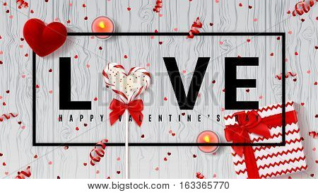 Happy Valentine's Day web banner. Top view on composition with lollipop, gift box, case for ring, candles and confetti. Candy in the form of heart isolated on wooden texture. Vector illustration.