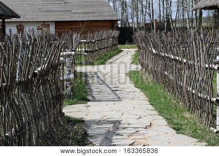 Traditional ukrainian fence made of wooden sticks
