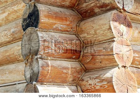 Corner of a traditional log house with log junction details