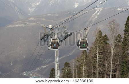 Funicular cabins on the Rosa Khutor mountain resort, Sochi,  2014, Russia