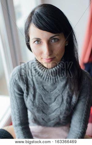 Portrait Of White Caucasian Woman