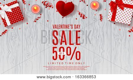 Valentine's Day sale background. Top view on composition with gift box, case for ring, candles and confetti. Vector illustration with serpentine on wooden texture.