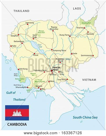 cambodia road and travel map with flag
