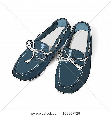 Blue female moccasins isolated on white background. Vector illustration.
