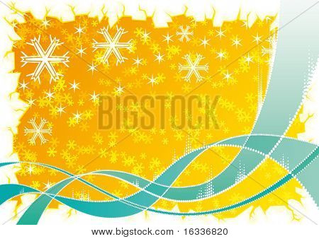 Abstract blue wave with yellow snowflake Background and ice border