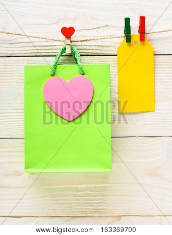 Green Package Hanging On Clothesline
