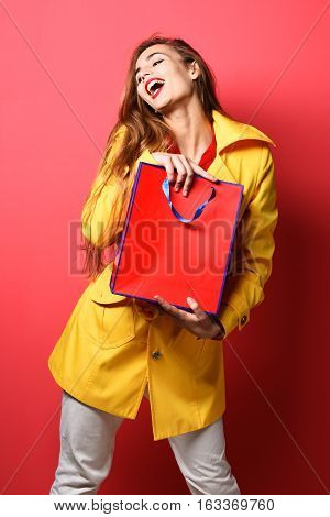 Smiling Colorful Girl With Bag