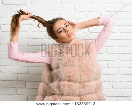 Fashionable Sexy Girl In Fur