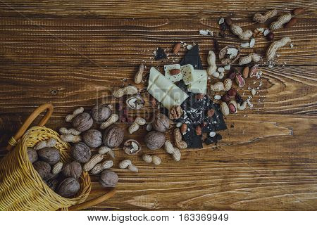 Chocolate On Wooden Background