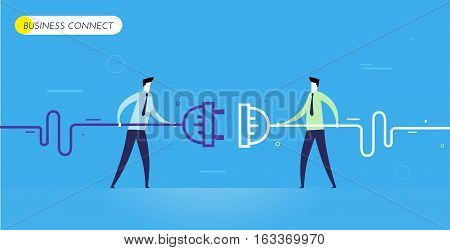 Businessmen connect connectors. Cooperation interaction. Vector illustration Eps 10 file. Success, Cooperation
