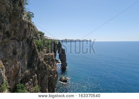 Cliffs of Antalya with a stunning View at the Mediterranian Sea