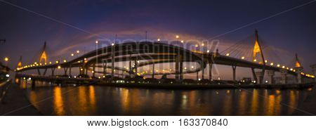 Bokeh Background of Bhumiphol Bridge known as Industrial Ring Road Bridge, Bangkok, Thailand