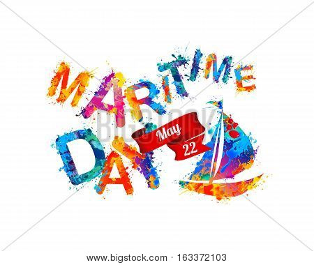 National Maritime Day card with ship. Splash paint