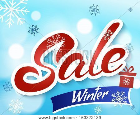 Sale banner on light blue background with snowflakes. Text - winter sale. Sale new year poster.