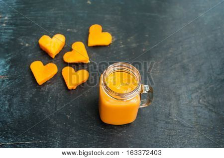 Papaya Cutting Shape Of The Heart.  Smoothies. The Flat Lying Structure. Love Concept. Valentine's D